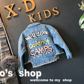 fashion girls spring jacket denim coat 2017 turn-down collar letter jeans girls coats and jackets for children Cardigan clothes