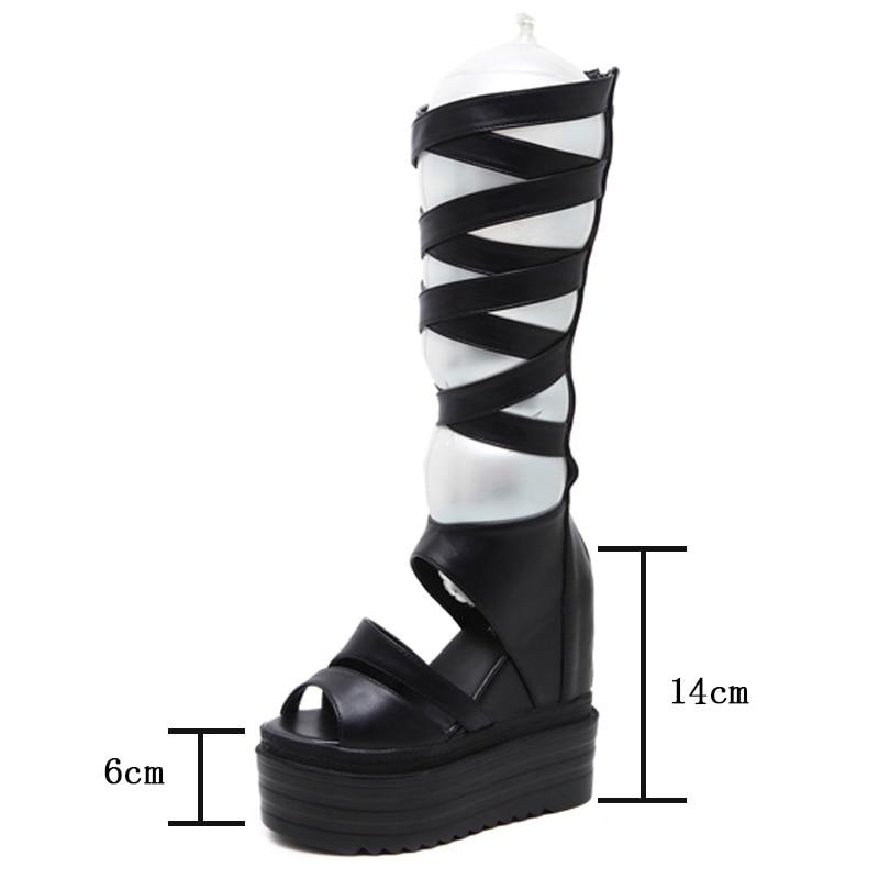 Cuñas Botas Grueso Zapatos De Mediados Verano Cruz Gladiador Plataforma Señoras Ternero Joyhopy Sandalias Mujeres Aws081 Atada Retro Fondo Black 2018 gfaqzz