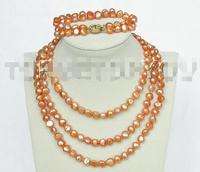 Free Shipping >>>> set 49 9mm baroque Orange pearls necklace bracelet E1419