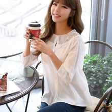 Women Blouses 2017 Summer Hollow-out Top Casual Fashion O-neck Loose Long sleeve Chiffon Shirt plus size Vintage blusas female