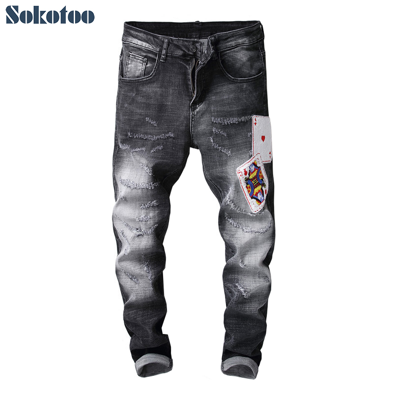 Sokotoo Mens poker patches black ripped jeans Fashion embroidery stretch denim slim skinny pants
