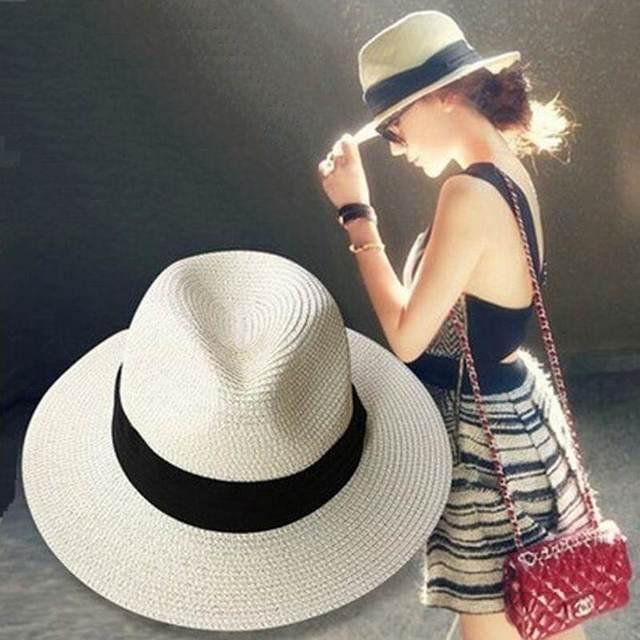 Nueva Mujer sombreros mujeres verano sombrero clásico negro faja Panamá  sombreros de sol Jazz sombrero playa 2a289047982