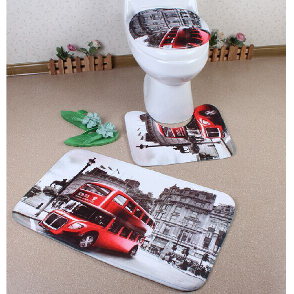 Brand new red bus toilet cover set with 3 pc bathroom mat for Washroom set