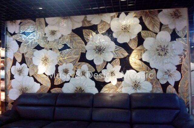 Piastrella da rivestimento a mosaico murale art white flower