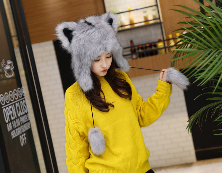 2017 Winter Faux Fox Fur Caps for Women Warm Bomber Hats with Ears Girls Novelty Cartoon Animals Party Caps Female Hats Gift 16