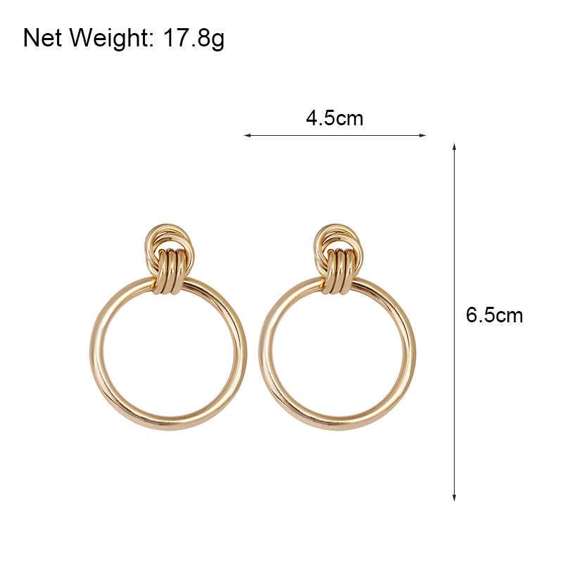 AENSOA, простые трендовые большие круглые серьги золотого цвета, модные выдалбливающие металлические серьги-капли в стиле панк для женщин, ювелирные аксессуары 2019