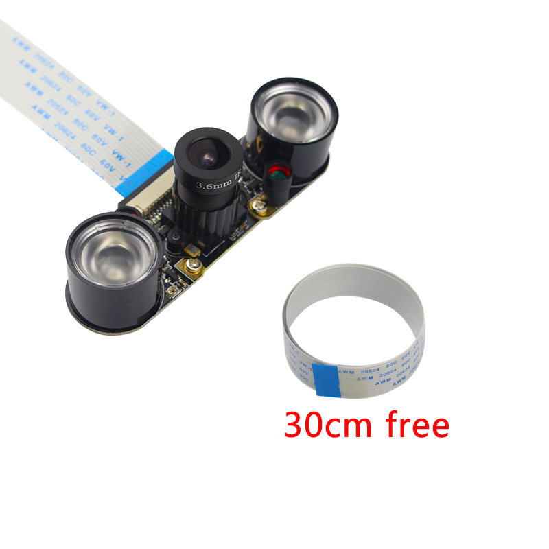 2018 Raspberry Pi 3B+ Camera Module 5MP OV5647 Night Vision Camera+2pcs Sensitive Infrared Light+30cm 50cm FFC Cable for RPI 3