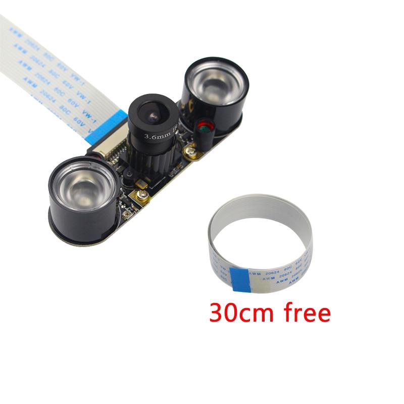2018 Raspberry Pi 3B+ Camera Module 5MP OV5647 Night Vision Camera+2pcs Sensitive Infrared Light+30cm 50cm FFC Cable for RPI 3