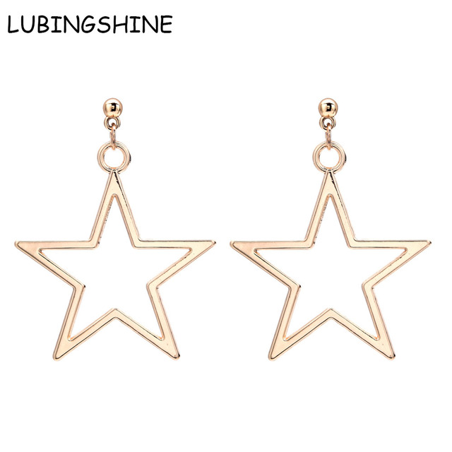 Lubingshine Geometric Earings Hollow Square Earring Five Point Star Ear Drop Gold Color Stars Dangle Earrings