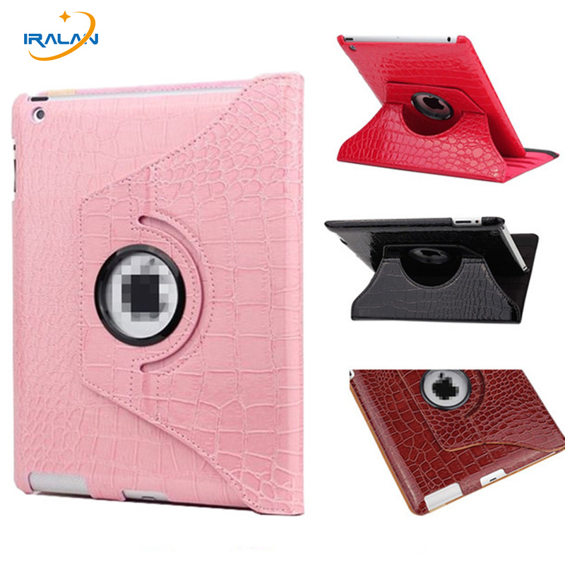 New Leather crocodile pattern 360 Rotating Case Cover Stand For New Apple iPad 2 3 4 Tablet Case Free shipping+Stylus Pen+Film new rotation 360 degree rotating leopard flip stand pu leather protective skin cover case for apple ipad mini 1 2 3 7 9 tablet