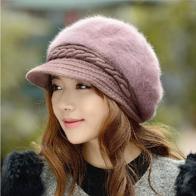 BINGYUANHAOXUAN New Fashion Adjustable Winter Women Rabbit Fur Beret Hat Solid Flat Cap Warm Earmuffs Knitted Wool Beanie Hat