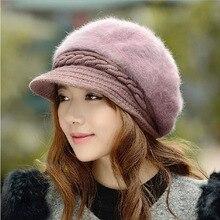 BINGYUANHAOXUAN New Fashion Adjustable Winter Women Rabbit Fur Beret Hat Solid Flat Cap Warm Earmuffs Knitted Wool Beanie