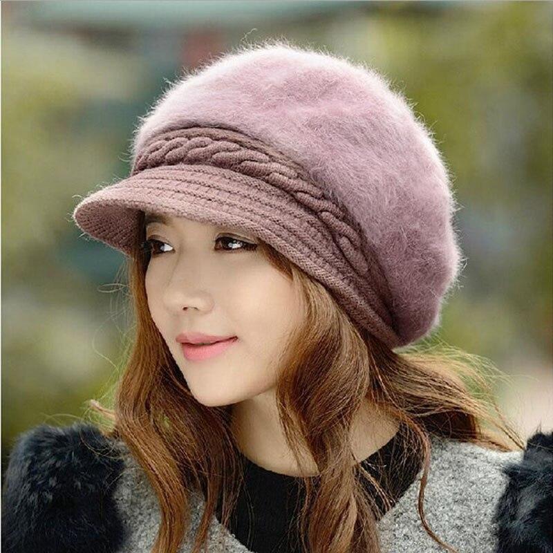 bingyuanhaoxuan-nouvelle-mode-reglable-hiver-femmes-lapin-fourrure-beret-chapeau-solide-plat-cache-oreilles-chaud-tricote-laine-beanie-chapeau