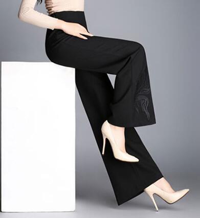 De Casual Nueva P1 Más Pierna Primavera Las Para p2 Pantalones Mujeres Ol Ancha Ylq0703 Moda Alta Tamaño Otoño Cintura Bordado Negro Femeninos SxAdq7aw7