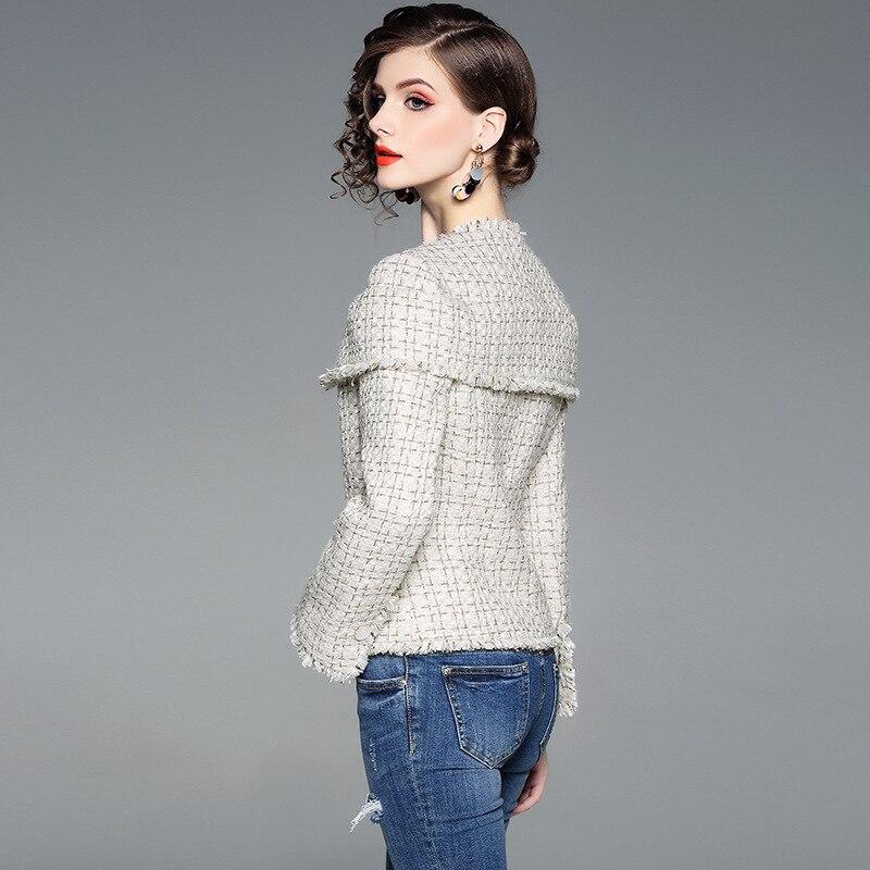 De Dame Beige Plaid Femmes Cape Et Automne Gland 2018 Manteaux Manteau Qualité Veste Hiver Survêtement Designers Bureau Vestes Tweed Laine Top FwRZXxqF