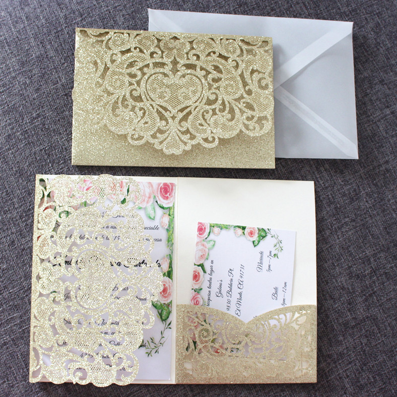 Glitter gold wedding invitation cards transparent envelop personalized RSVP insert laser cut heart holiday greeting cards