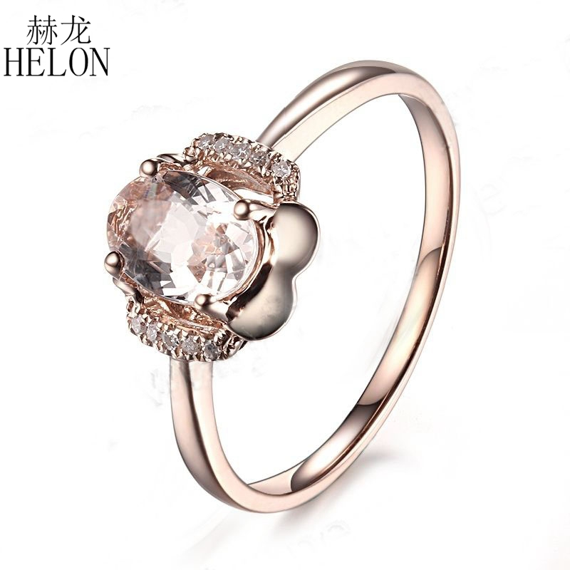 HELON Solid 14K Rose Gold Prong 7x5mm Oval Shape Morganite Pave Natural Diamond Jewelry Flower Unique Fine Jewelry Ring 18 k rose gold with natural ruby ring female fine jewelry classic contracted the flower shape
