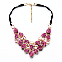 N00831 Fashion Costume Jewelry Pink Ice Berg Newest Unique Fashion Wholesale Druzy Women Statement Choker Necklaces