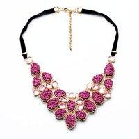 N00831 Fashion Costume Jewelry Pink Ice Berg Newest Unique Fashion Wholesale Druzy Women Statement Choker Necklaces