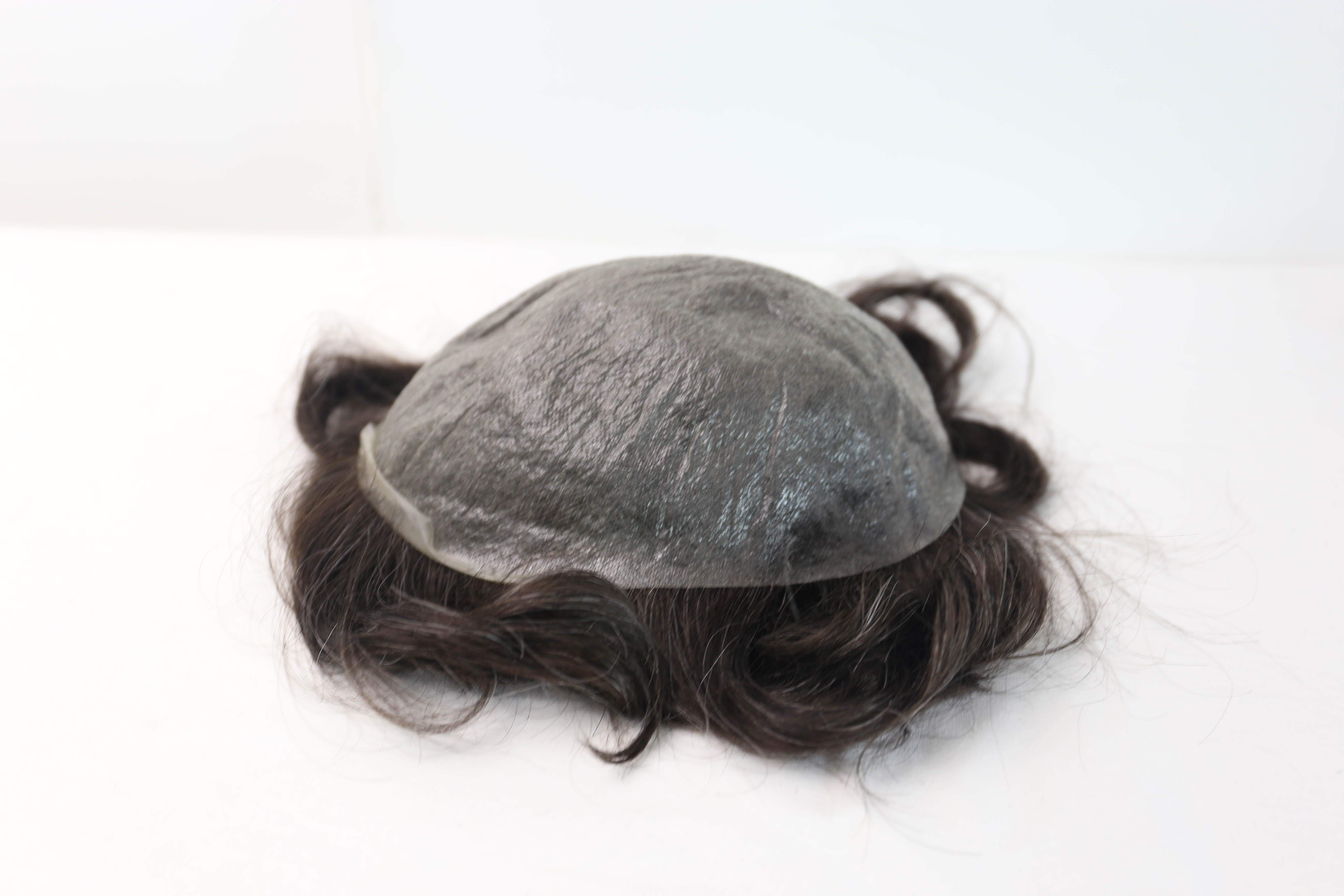 Men Toupee Wigs Hair Replacement System Hair Prosthesis Base Thin Skin Human Hair Toupee Remy #220 Grey Brown Free Shipping
