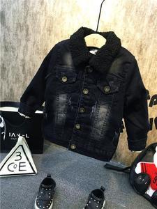 Image 3 - New Children Kids Boys Clothing Sets Autumn Winter Baby Boys Fur collar denim jacket + sweater + jeans 3Pcs boys Clothes set