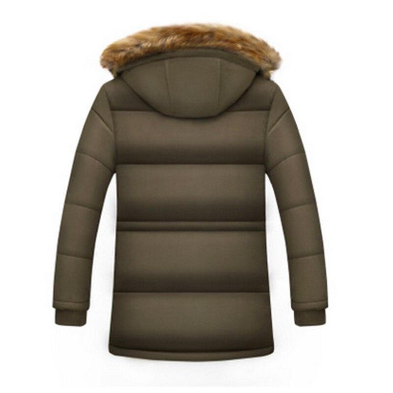 Новые модные зимние длинные хлопковый костюм мужчин плюс бархатные толстые теплые пальто среднего возраста папа носить свободные с капюшо... - 4