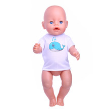 White T-Shirt Blue Dolphin Pattern Doll Clothes Wear fit 43cm zaps clothes accessories ,Children best Birthday Gift(China)