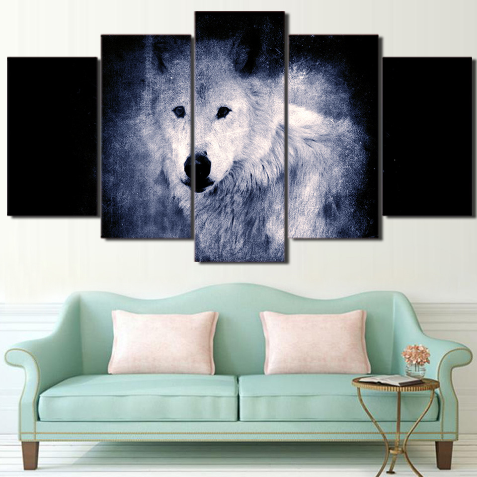 Painting Picture Modern 5 Pieces/Pcs White Wolf In Dark HD Printed Wedding Decoration Frame For Living Room High Quanlity Canvas