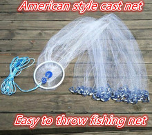 American style cast net 2.4m -4.2m easy throw fly fishing net with ring small mesh outdoor sports hand throw catch fish network