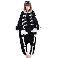 One Piece Cartoon Flanelle Pyjamas Skeleton Skull Animaux Pijama Plein Hoodies Sleepwear Adultes Cartoon Pyjamas