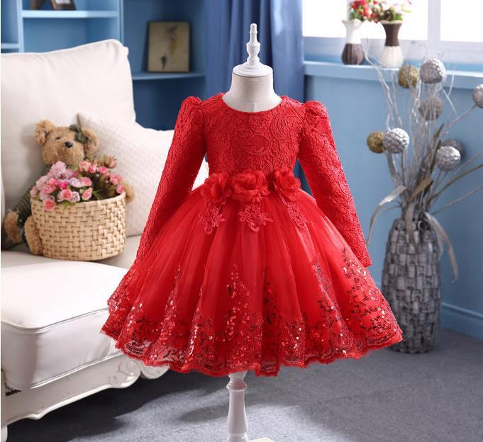 NICBUY Girl's autumn winte Girl's long-sleeved dress, autumn/winter, flower children with velvet princess girl dress autumn