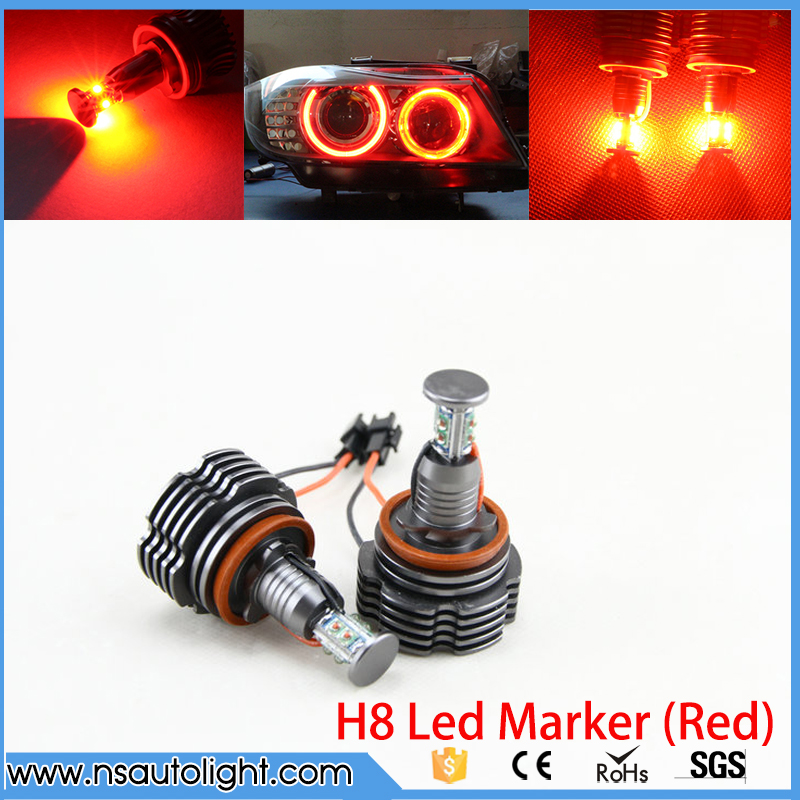2Pcs H8 40W LED Marker Angel Eyes RED HID Xenon Bulb For BMW E60 E61 E63 E64 E70 X5 E71 X6 E82 E87 E89 E90 E91 E92 no bulb out warning message 40w h8 led angel eyes halo ring marker light bulbs xenon white 6k for bmw e60 e90 e92 e70 x5 x6