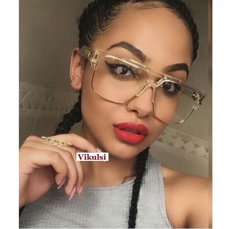 Brand Designer Oversized Sunglasses Women Clear Lens Glasses Myopia Eyeglasses Flat Top Mirror Sun Glasses Male Square Shades
