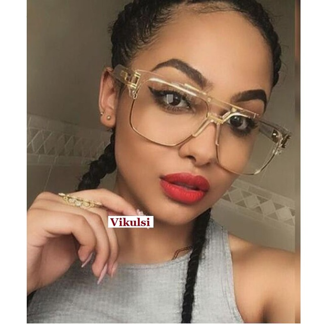 6cf6303b3967 Brand Designer Oversized Sunglasses Women Clear Lens Glasses Myopia  Eyeglasses Flat Top Mirror Sun Glasses Male