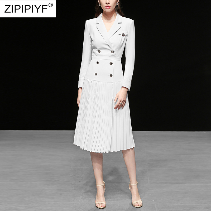 Runway White Dress 2019 Elegant Women Pleated Slim Dress FIt and Flare Empire Long Party Dress