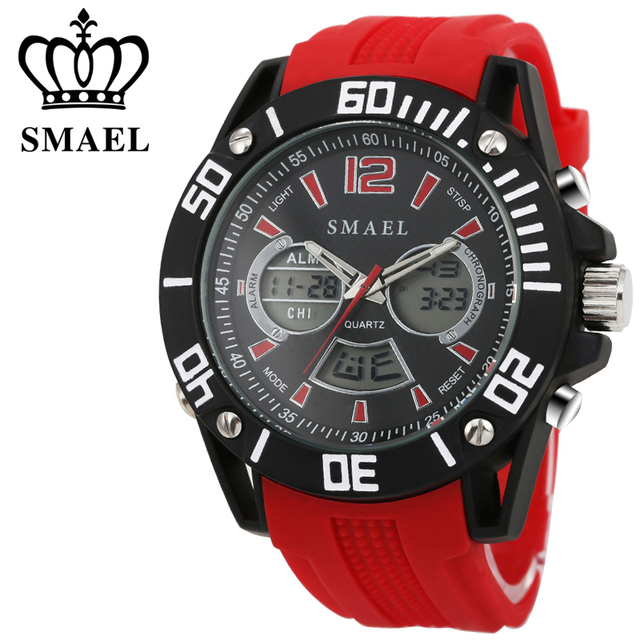 SMAEL Casual Watches LED Digital Quartz Watch Analog Digital Clocks Male Watch Men Alloy Waterproof Wristwatches relogio WS1035