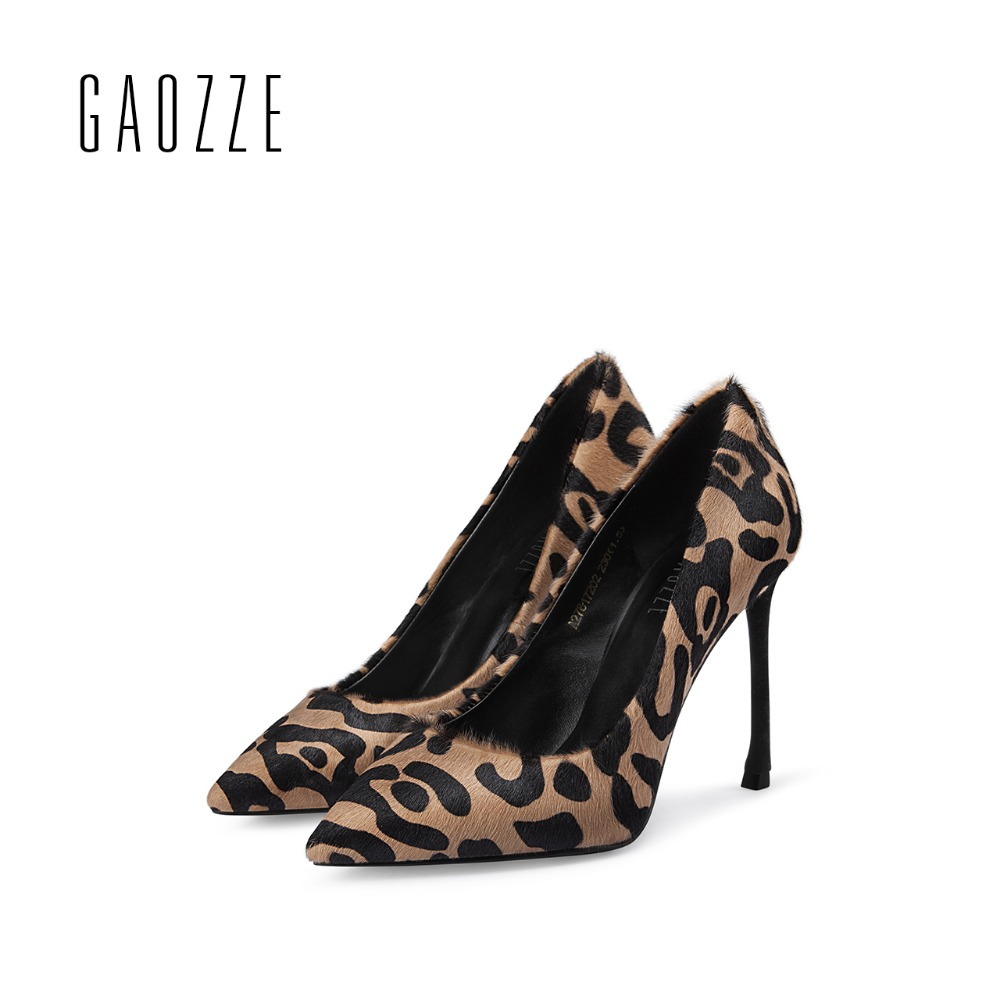 GAOZZE women pumps shoes wool shallow mouth female pointed toe 10CM sexy high heels pumps Leopard party shoes 2017 autumn new black 2016 wine red navy blue cashmere genuine leather round toe shallow mouth ultra high heels female boots female