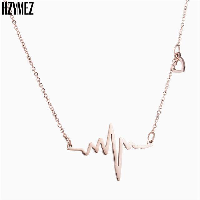 ECG HZYMEZ Pop Colar de Titânio de Aço Cor de Rosa de Ouro Pingente Colares  Para b36fa8c328
