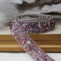 Violet Pearl Clothing Accessories Collar Iron On Flower Applique DIY Handmade Beading Lace Trim Clothes Lace