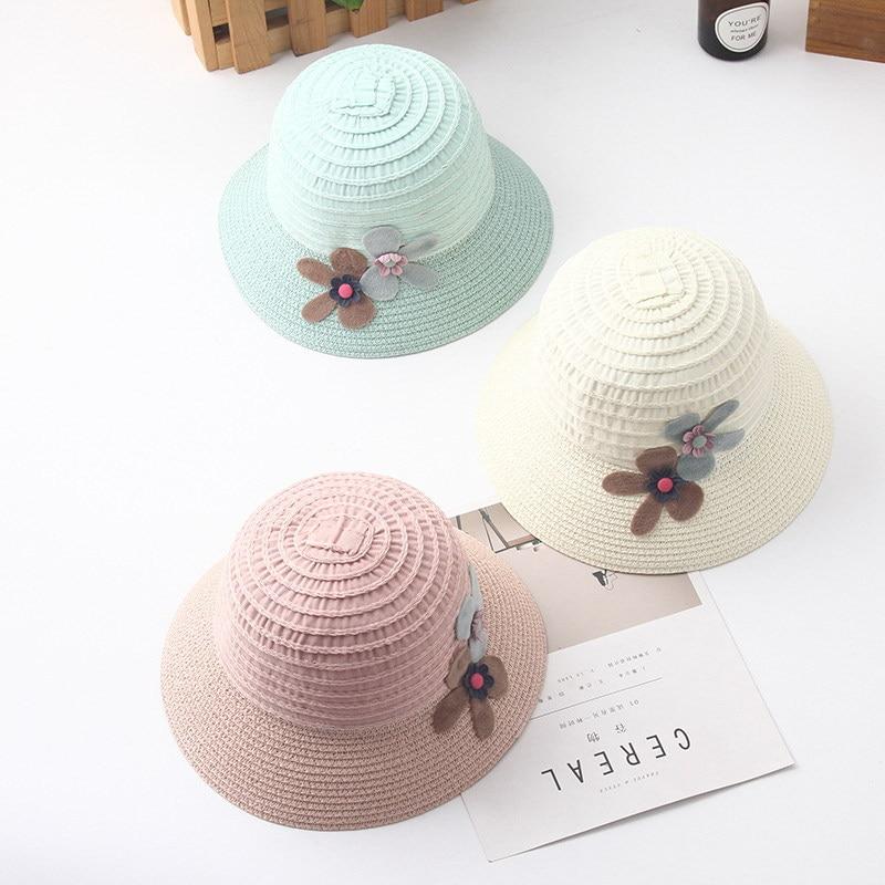 2018 New Children Grils Hat Summer Sun Visor Beach Small Fresh Straw Hat Seaside Sun Protection Fisherman Hat
