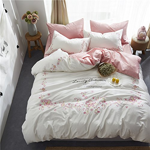 WINLIFE Vintage Floral Embroidery Bedding Set 4Pcs Girls Duvet Cover Set Flat Sheet and Pillowcases
