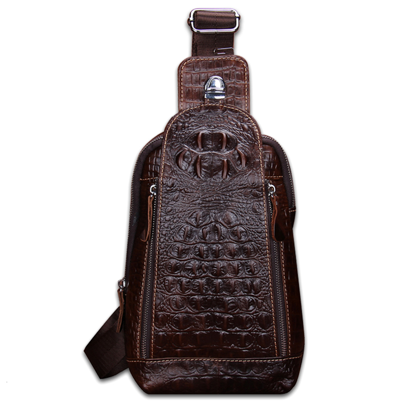ФОТО Fashion Genuine Cowhide Leather Brand Alligator Grain Vintage Crossbody Bags Quality Small Men Messenger Handbags Free Shipping