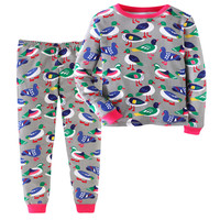 Little Bitty top brand kids girls clothing sets autumn spring all printed animal duck dinosaur top + bottom 2 pcs sets for 3 12t
