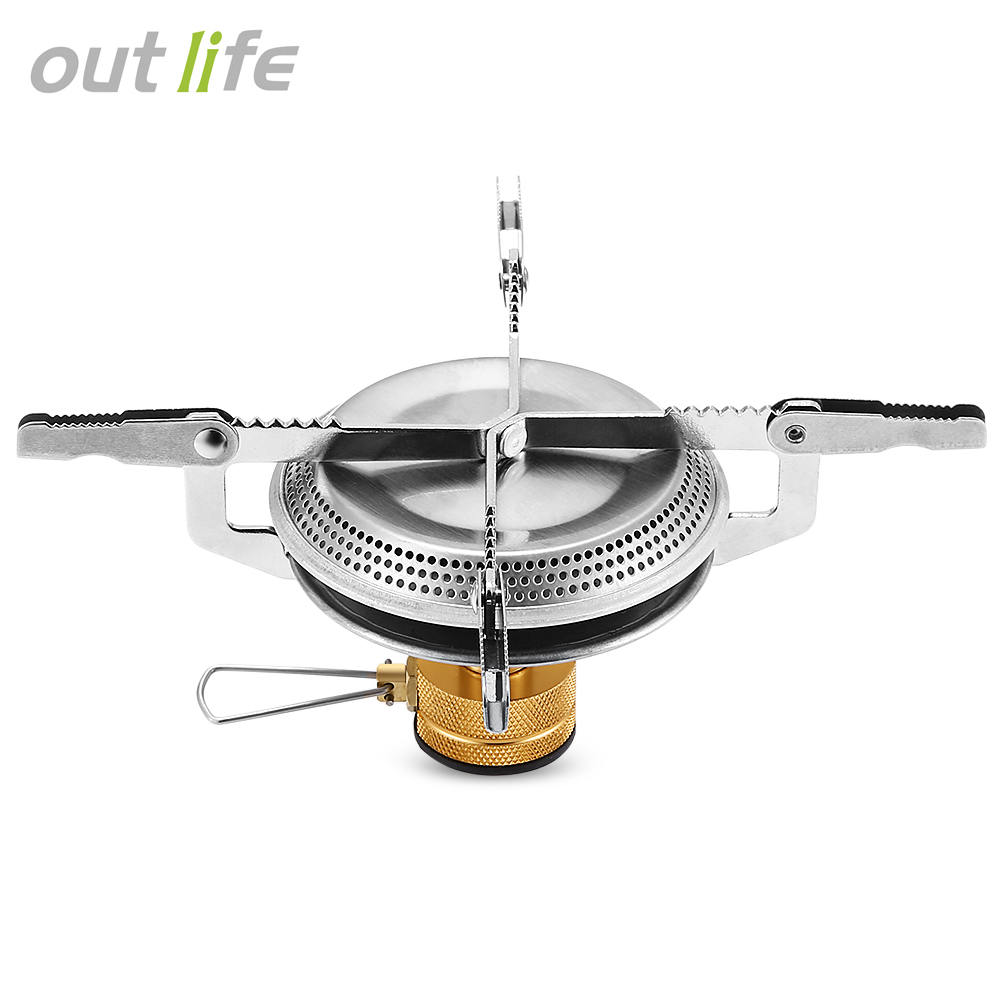 Outlife 1pc Portable Stainless Steel Mini BBQ Camping Gas Stove Outdoor Hiking Picnic Survival Cookout Folding Stove Head