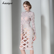 Laceyce 2017 Women Runway Bodycon Bandage Dress Nude Long Sleeve Mesh Plaid Hollow Out Sexy Celebrity