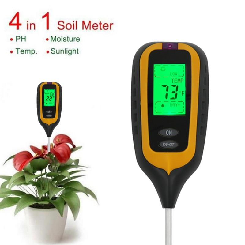 3/4 IN 1 Digital Soil Fertilizer Meter Round/Square PH Meter Temperature Sunlight Tester For Garden Farm Lawn Plant 40%Off