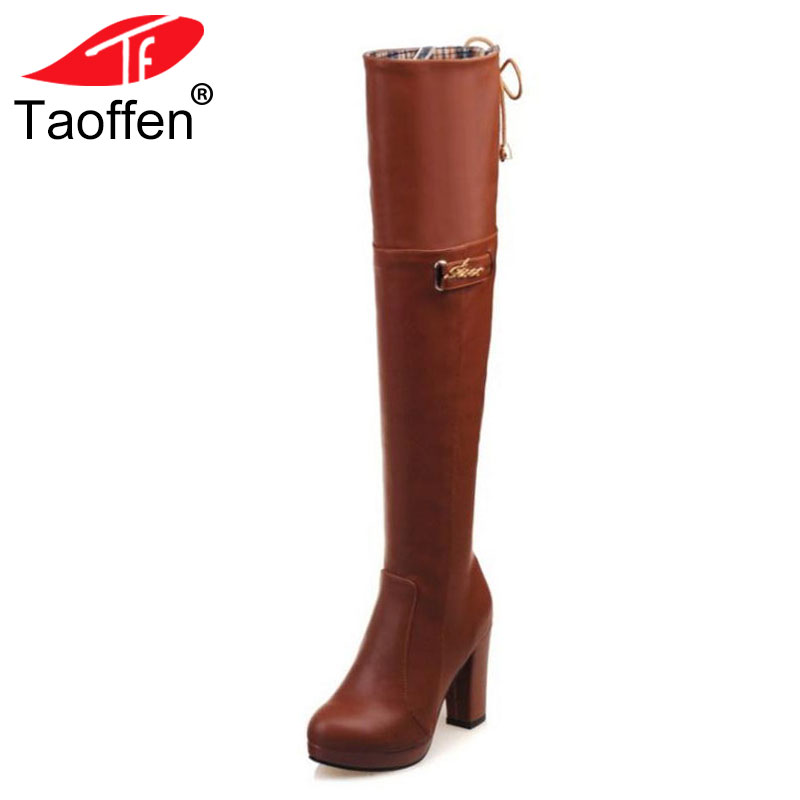 TAOFFEN Size 33-43 Women High Heels Boots Fur Winter Warm Over Knee Boots Platform Woman Shoes Fashion Boots Ladies Footwear new 2015 woman fashion genuine leather long winter boots ladies high quality warm footwear platform women shoes boots size 33 40