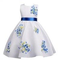 新しいスタイルの夏4-14年子供甘いドレス女の子アップリケベルトプリンセスドレス女の子高-グレード性能パーティードレス