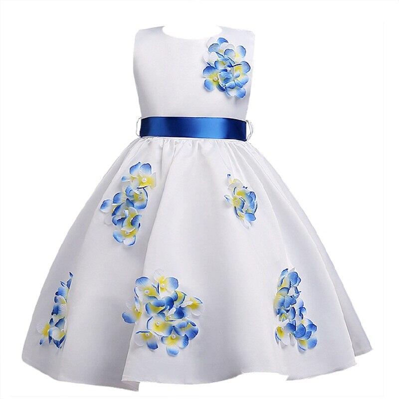 New style Summer 4-14 years children sweet dress girls applique belt princess dresses girl high-grade performance party dress