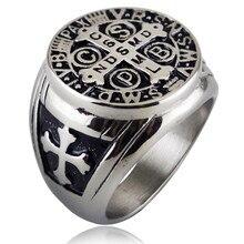 Серебряное Золотое мужское церковные украшения из нержавеющей стали тон Крест Писание кольцо для мужчин святой Бенедикт CSPB свадебное кольцо